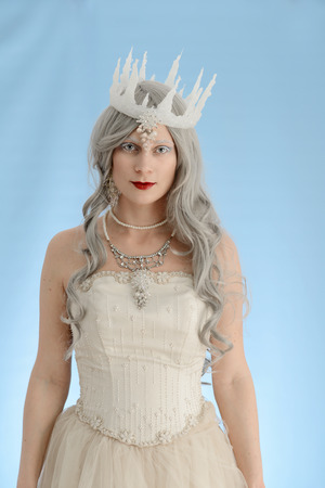 snow queen with blue background
