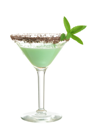 isolated chocolate mint grasshopper cocktail