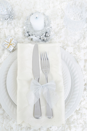 top view snow christmas table setting