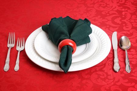 napkin ring: closeup of christmas dinner setting Stock Photo