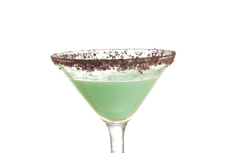 closeup isolated chocolate grasshopper cocktail