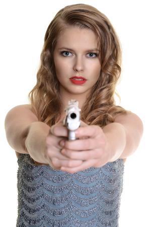 woman pointing a handgun