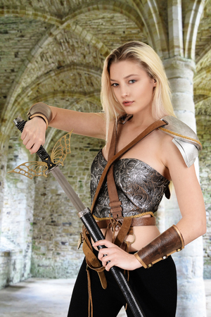 female warrior with stone arch Stock Photo
