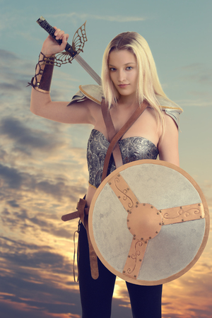 woman warrior getting ready to fight Stock Photo