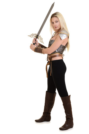 warrior woman using two handed sword Stock Photo