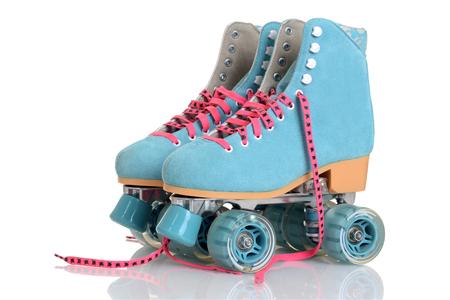 여자 블루 쿼드 롤러 스케이트 스톡 콘텐츠
