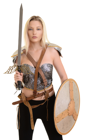 female warrior with shield and sword Stock Photo