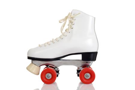 측면보기 여성 흰색 쿼드 롤러 스케이트 스톡 콘텐츠
