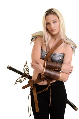 female warrior hugging herself Stock Photo