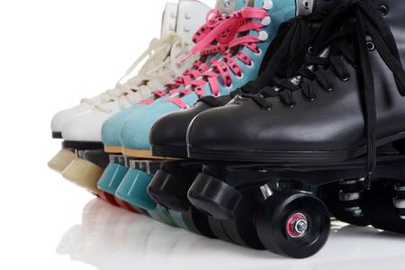closeup row of quad roller skates Imagens