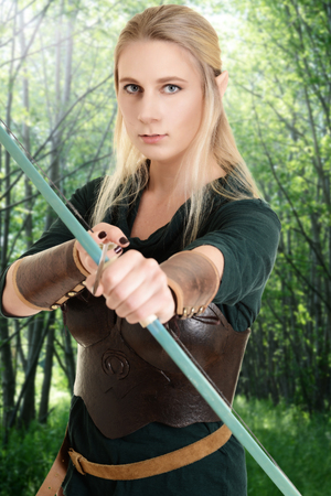 faerie: female wood elf using bow and arrow