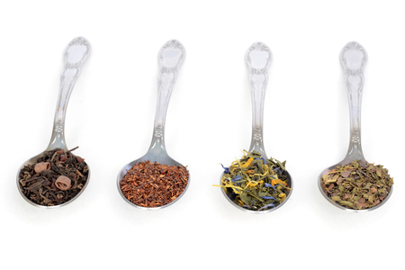 closeup organic herbal tea on spoons Stock Photo