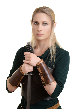 elves: isolated female wood elf with sword