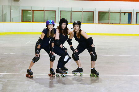 women roller derby players Stock Photo