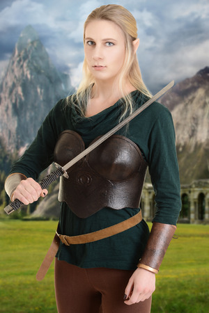 faerie: female wood elf with a sword