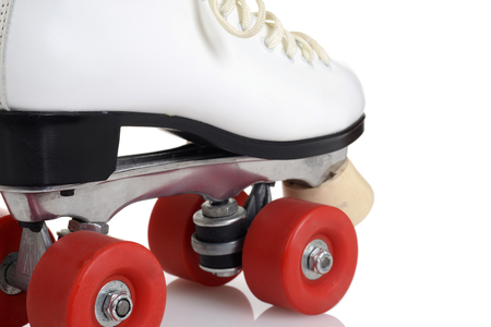 closeup artistic women quad roller skates