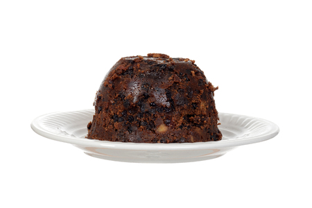 Isolated christmas pudding on a plate Stock Photo