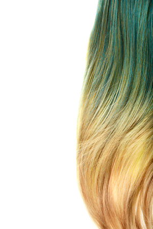 piece of blond and blue umbra hair