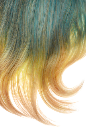 back of blond and blue umbra wig isolated 스톡 콘텐츠