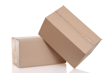 closeup two cardboard boxes