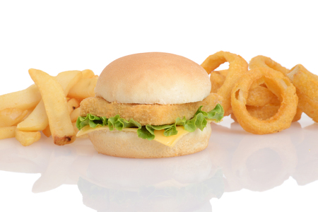 fish sandwich with french fries and onion rings Archivio Fotografico