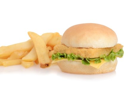 closeup fish sandwich with french fries
