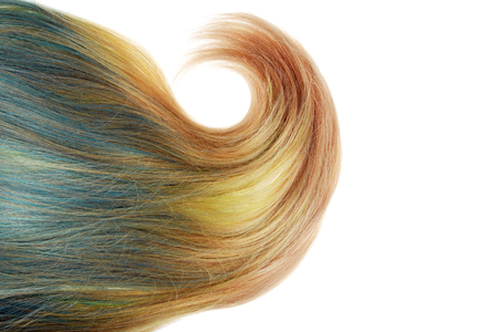 piece of blond and blue umbra hair with fat curl isolated 스톡 콘텐츠