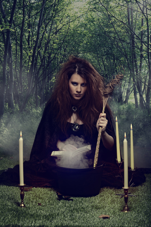 witch making a potion in her cauldron