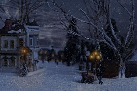 Hombre victoriano vendiendo castañas en la aldea en Navidad