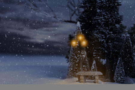 snowing winter landscape with bench and lamp post