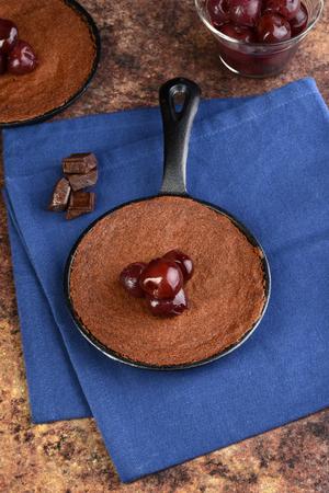 top view brownie with cherries