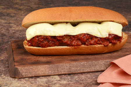 closeup meatball sub sandwich with cheese
