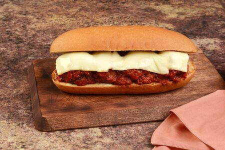meatball sub sandwich with mozzarella cheese Stock Photo