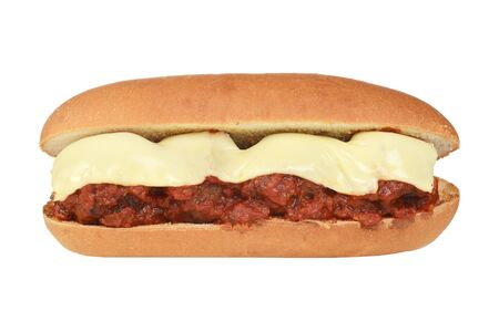 isolated meatball sub sandwich with cheese