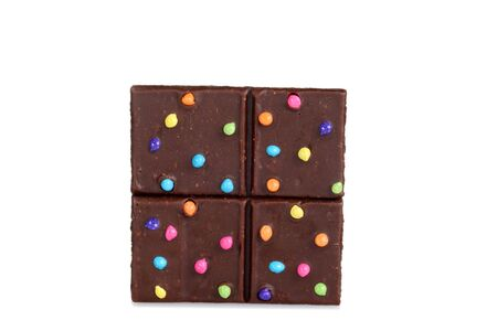 chocolate brownie fudge bar with candy pieces Stockfoto
