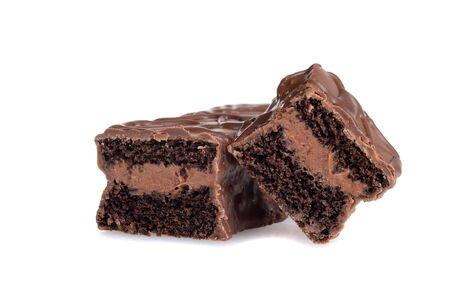 closeup sliced cream filled chocolate bar cakes