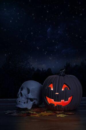 Glowing halloween pumpkin with human skull Reklamní fotografie