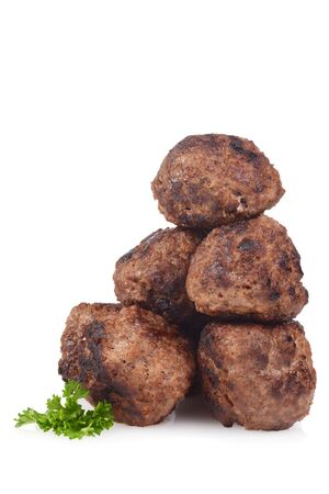 stack of homemade cooked meatballs on white Stock Photo