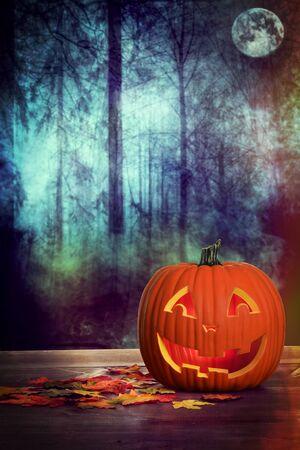 halloween pumpkin in spooky forest scene