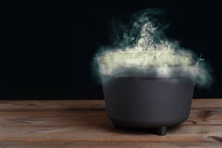 halloween cauldron with smoke