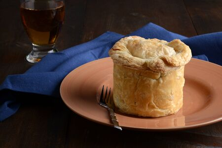 meat pub pie with a fork