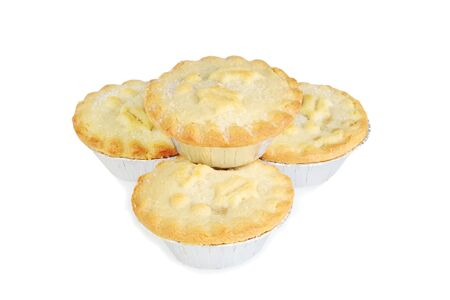 isolated stack of mincemeat christmas pies Stock Photo