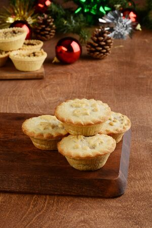 christmas mincemeat pies with tarts in background Stock Photo