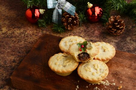 high angle view christmas mincemeat pies