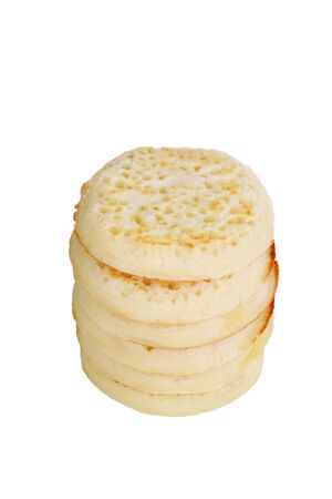 stack of fresh english crumpets