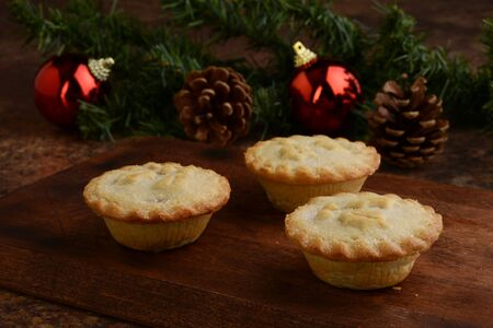 mincemeat pies with christmas decorations