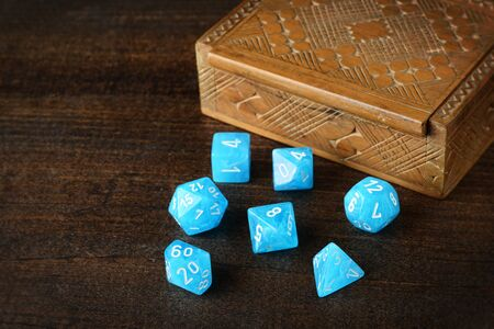 d & d dice with box focus on number 20
