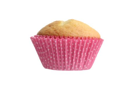 closeup of isolated cupcake in pink spotted paper cup Banco de Imagens