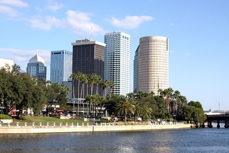 tampa bay: Tampa City Downtown with River Florida Stock Photo