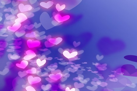 shiny hearts: Pink White Purple Hearts on the Blue Background for Valentine Day Stock Photo